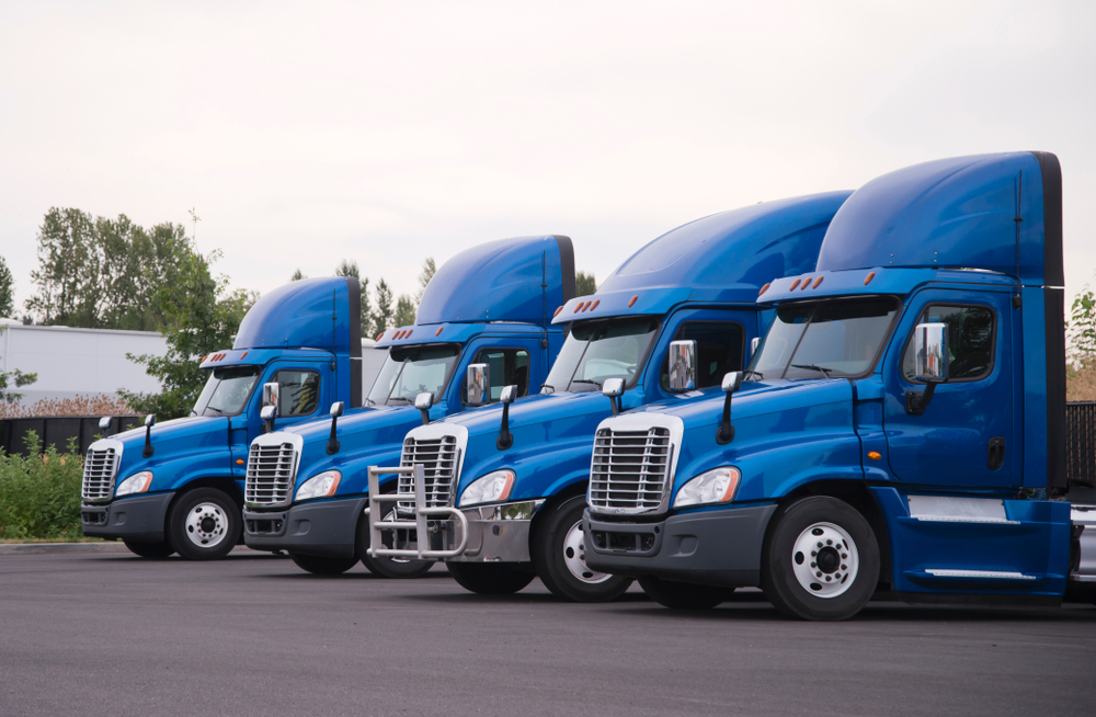 A fleet of blue trucks.