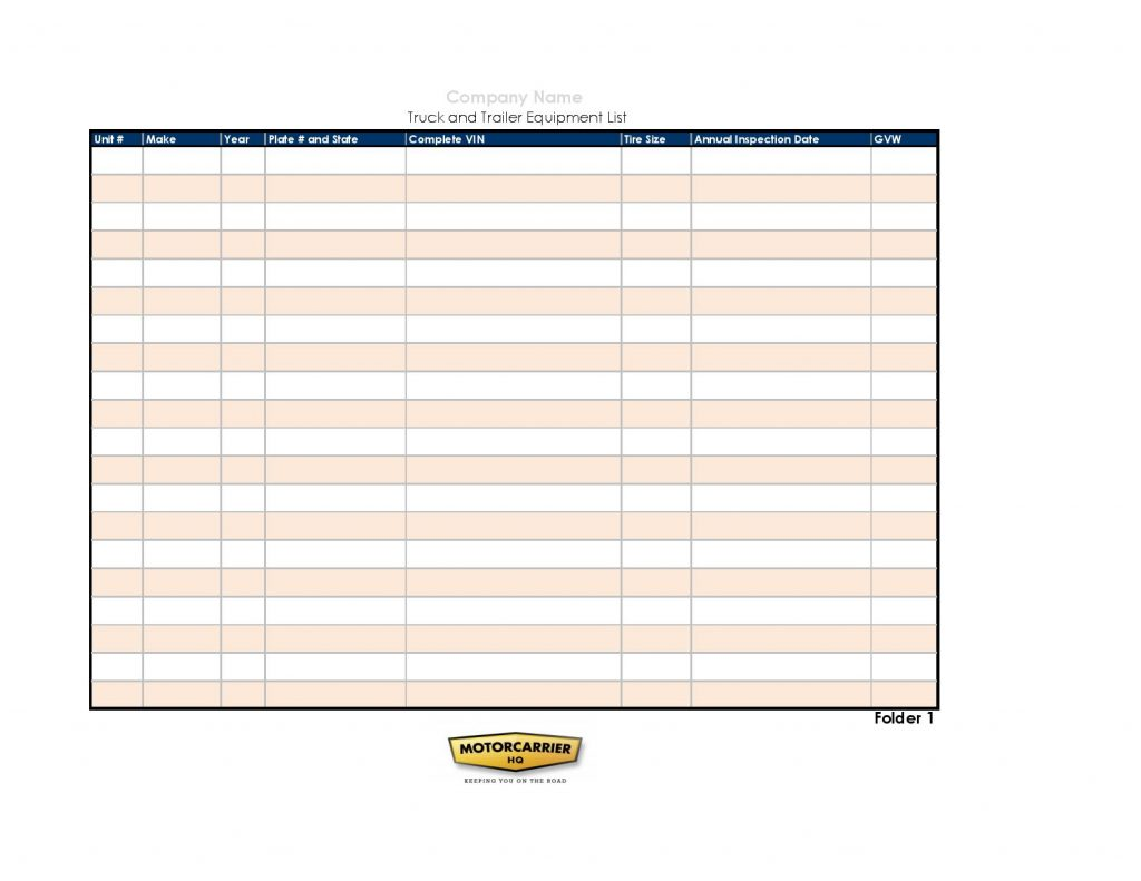 PDF of an equipment list template