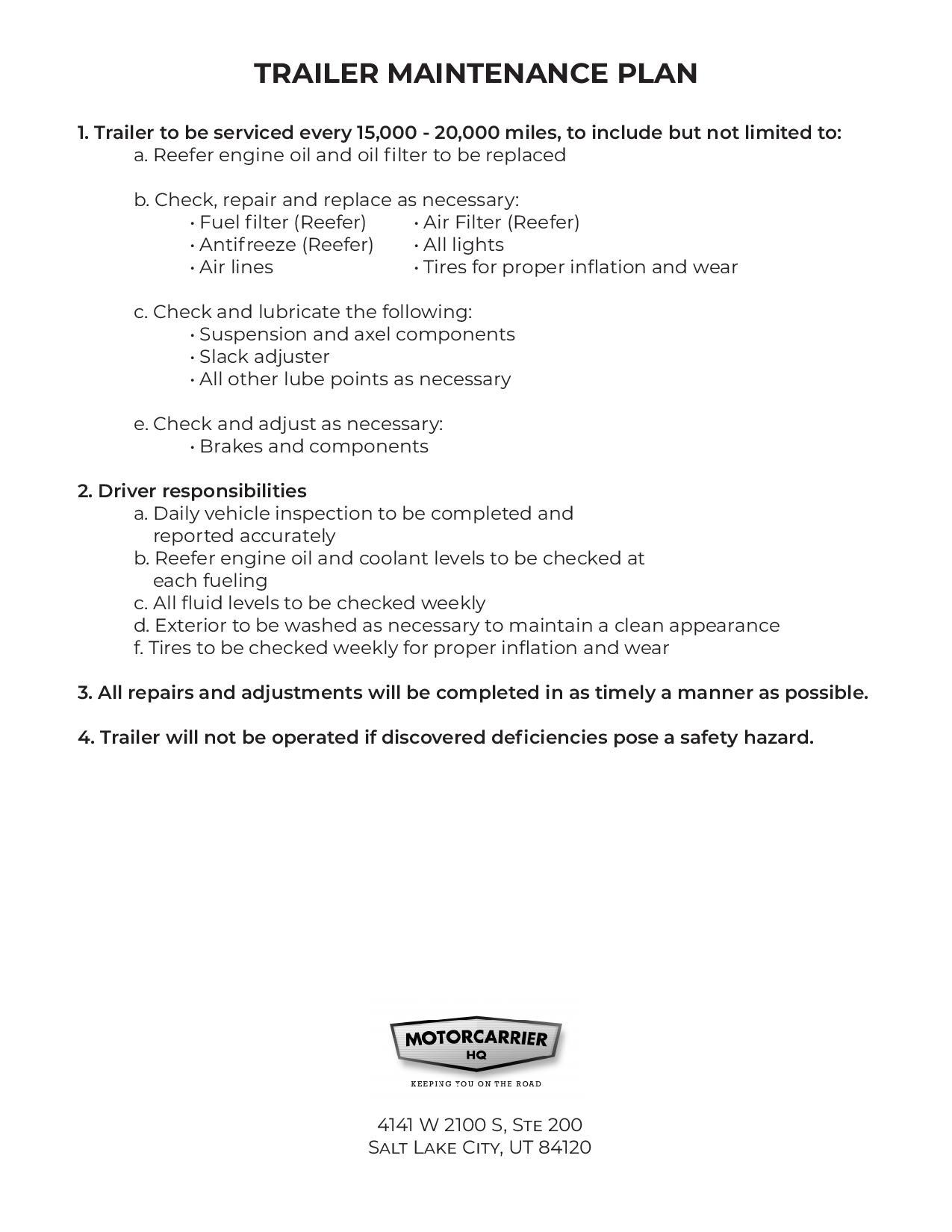 Trailer maintenance plan page.