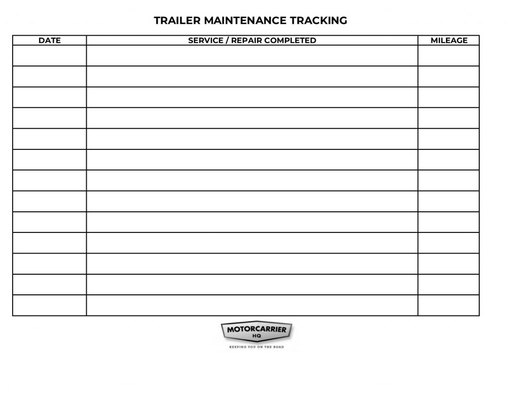 Trailer maintenance tracking page.