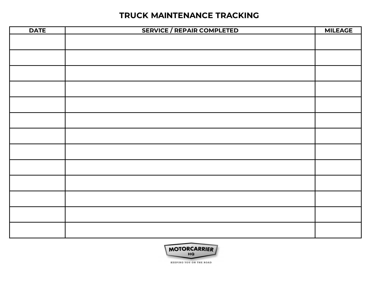 Truck maintenance tracking sheet